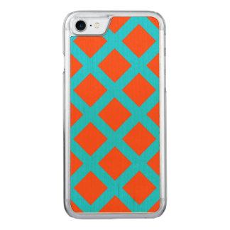 Mutiges Orangen-und Türkis-Blau-Quadrat-Muster Carved iPhone 8/7 Hülle