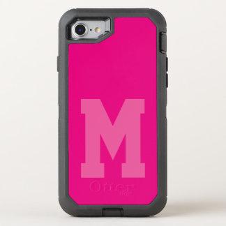 Mutiges rosa Uni-Monogramm OtterBox Defender iPhone 8/7 Hülle