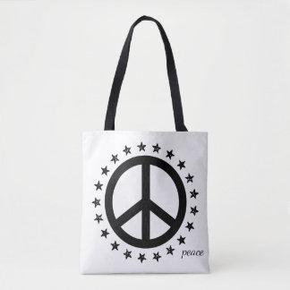 Mutiges Schwarzweiss-Friedenssymbol und -sterne