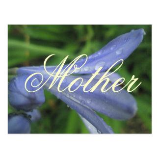 Mutter-elegante blaue Blumen-Postkarte Postkarte