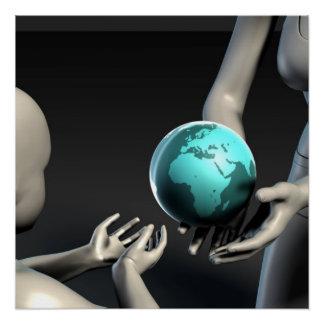 Mutter Erde, die zu ihren Kindern als Konzept Perfektes Poster