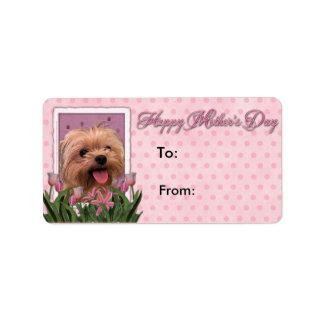 Mutter-Tag - rosa Tulpen - Morkie - Lacey Adressaufkleber