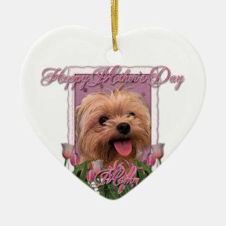 Mutter-Tag - rosa Tulpen - Morkie - Lacey Keramik Herz-Ornament