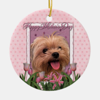 Mutter-Tag - rosa Tulpen - Morkie - Lacey Keramik Ornament