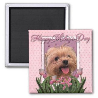 Mutter-Tag - rosa Tulpen - Morkie - Lacey Quadratischer Magnet