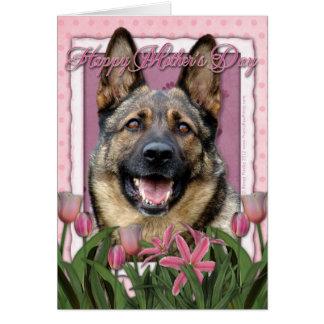 Mutter-Tag - rosa Tulpen - Schäferhund Karte