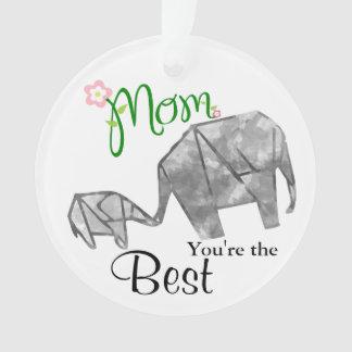 Mutter u. KindOrigami Elefant mit Text u. Foto Ornament