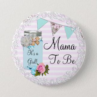 Mutter, zum blaues Weckglas-rustikaler Knopf zu Runder Button 7,6 Cm
