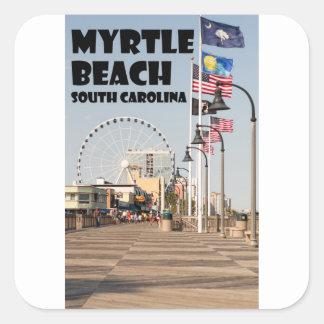 Myrtle- Beachpromenaden-South- Carolinaferien Quadratischer Aufkleber