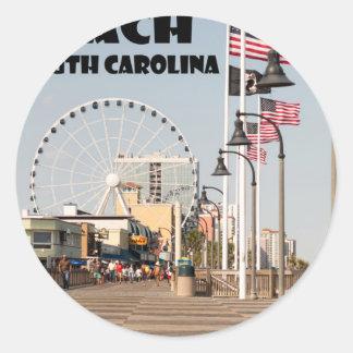 Myrtle- Beachpromenaden-South- Carolinaferien Runder Aufkleber
