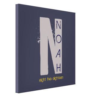 N-Monogramm-Initialen-Bar-Schläger Mitzvah Leinwanddruck