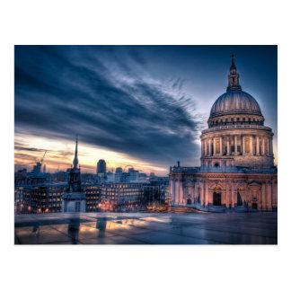 Nacht fällt über St Paul Kathedrale, London Postkarte