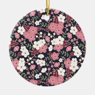 Nachtgarten-Blumen-Muster Rundes Keramik Ornament