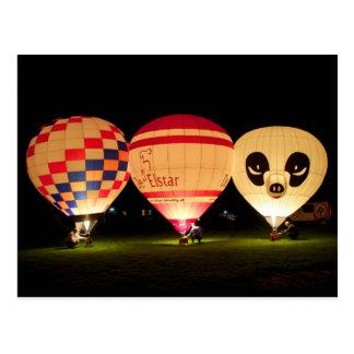 Nachtglühen-Ballon Postkarte