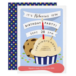 Nachtisch scherzt Eiscreme-Geburtstags-Party 11,4 X 15,9 Cm Einladungskarte