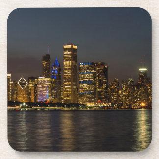 NachtSkyline Chicago Pano Untersetzer
