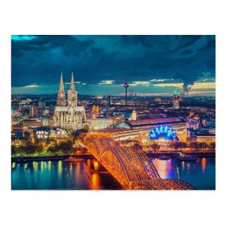 Nachtzeit-Ansicht von Köln Deutschland Postkarte
