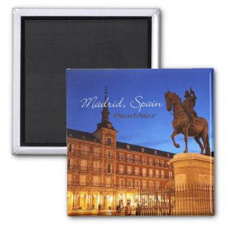 Nachtzeit-Szenen-Reise-Magneten Madrids Spanien Quadratischer Magnet