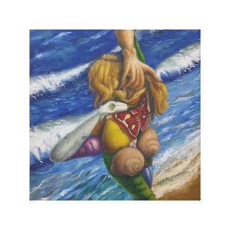 """""""nackt vor dem Meer """" Galerie Gefaltete Leinwand"""