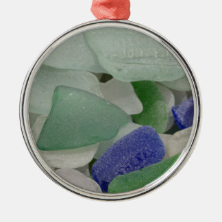 Nah oben vom Strandglas, Alaska Rundes Silberfarbenes Ornament