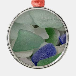 Nah oben vom Strandglas, Alaska Silbernes Ornament