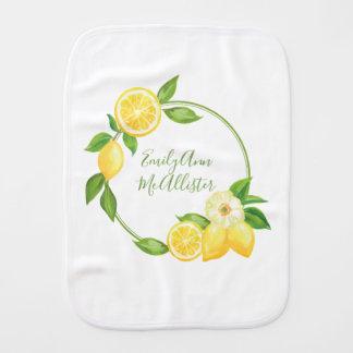 Name-gelbe Zitronen-Zitrusfrucht-Blumenbaby-Name Baby Spucktuch