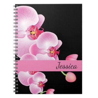 Name-Notizbuch-Rosa Orchideen Spiral Notizblock