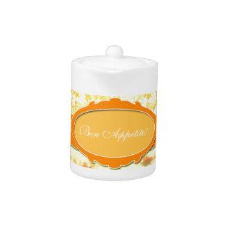 Name-orange Girly Muster-Blumen und Himmel