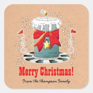 Name-Spaß-Weihnachtskerzen-Geschenk-Aufkleber Quadrat-Aufkleber