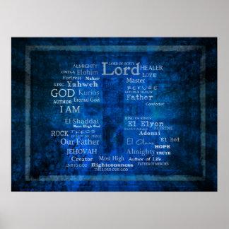 Namen des Gottes, heiliges Namenbild Poster