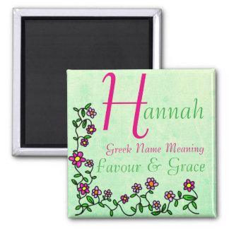 Namensmagnet-Bedeutung, Hannah, Bevorzugung u. Quadratischer Magnet