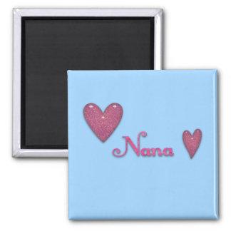 Nana mit Herzen Quadratischer Magnet