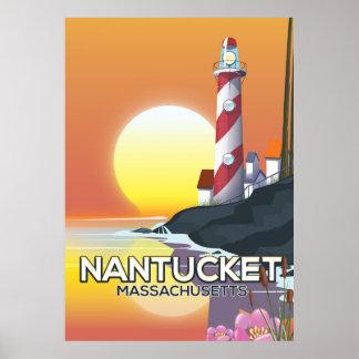 Nantucket Massachusetts Leuchtturm-Reiseplakat Poster