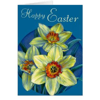 """Narzissen """"fröhliche Ostern"""" gelbe und blaue Karte Karte"""