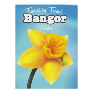 Narzissen-Reiseplakat Bangors, Wales Vintages Poster