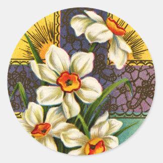 Narzissen und Kreuz Vintages Ostern Runde Aufkleber