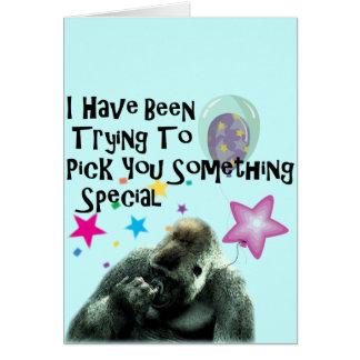 Nase, die lustigen Gorillageburtstag auswählt Grußkarte