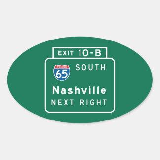 Nashville, TN-Verkehrsschild Ovaler Aufkleber