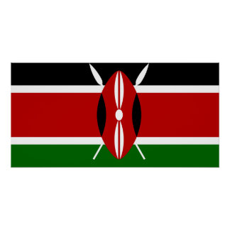 Nationale Weltflagge Kenias Poster