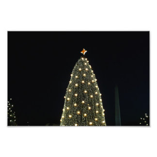 Nationaler Weihnachtsbaum u. Washington-Monument Fotodruck
