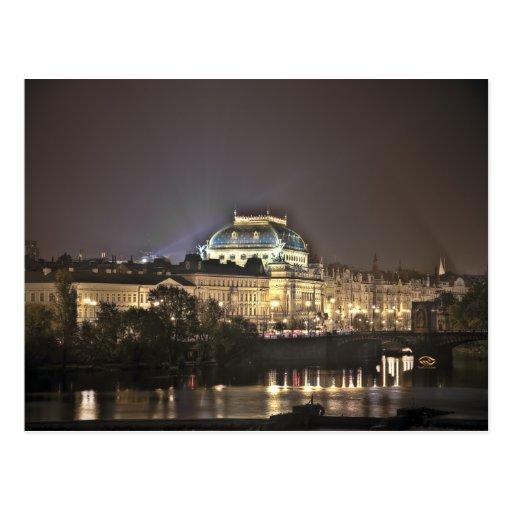 Nationales Theater-Prag-Nacht Postkarte
