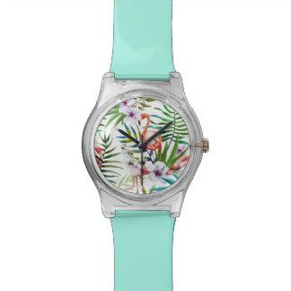 Naturgarten-Musterminze des Flamingos tropische Uhr
