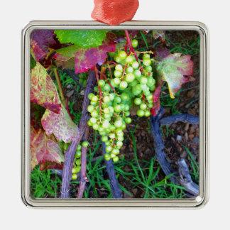 Natürliche Trauben Quadratisches Silberfarbenes Ornament