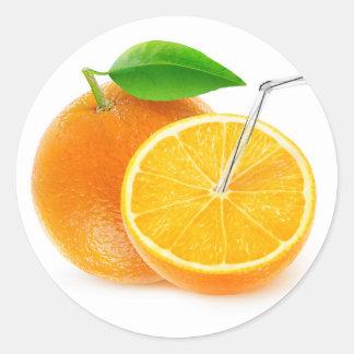 Natürlicher Orangensaft Runder Aufkleber