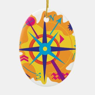 Navigation - Orange Ovales Keramik Ornament
