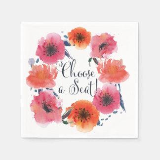 Navy Watercolor Floral Wedding Suite Napkins Disposable Napkin