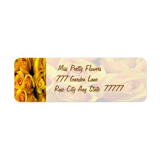 Nebelhafte goldene gelbe Rosen Rücksendeetikett