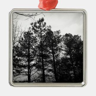 Nebelhafter ätherischer Spuk Baum-Waldholz-Nebel Silbernes Ornament