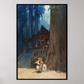 Nebelhafter Tag in Nikko Hiroshi Yoshida woodblock Poster