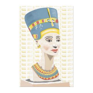 Nefertiti und Gold deckten Cartouche mit Ziegeln Leinwanddruck